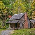 Autumn at Henry Whitehead Cabin - Cades Cove Poster by Matt and Delia Hills Photography