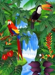 """Tropical Forest Background"" by Surya Zaidan. Art Tropical, Tropical Forest, Tropical Birds, Exotic Birds, Tropical Flowers, Tropical Posters, Arte Pallet, Rainforest Project, Jungle Art"