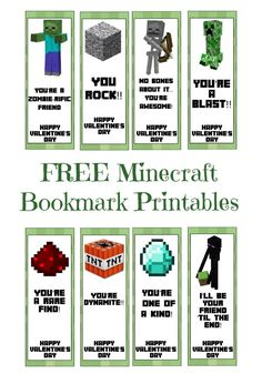 FREE Printable Minecraft Valentine's Day Bookmarks  #minecraft