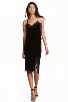 Spódnica z weluru i koronki | H&M