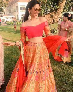 "Indiagram Wedding on Instagram: ""Going off shoulder looks fun for sangeet or Mehendi. Love orange and patterns on lehenga #IndiagramWedding _____________________ 📸 via…"""