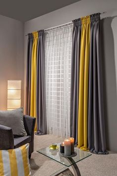 home curtains living room * home curtains - home curtains living room - home curtains modern - home curtains ideas - home curtains bedroom - home curtains kitchen - home curtains design - home curtains living room modern Grey And Yellow Living Room, Living Room Modern, Home Living Room, Living Room Designs, Living Room Sofa, Bedroom Modern, Living Area, Gray Bedroom, Small Living