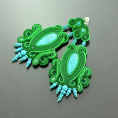 Long Soutache Earrings Batoidea - Turquoise Green Long Dangle Earrings - Green…
