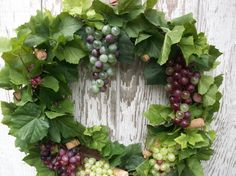 Vineyard Wreath, Grape Harvest Wreath, Green and Purple Wreath, Wine Country Wreath, Grapes Wreath, Vineyard Wedding Decor, Tuscan Wreath