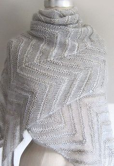 Free Knitting Pattern for Chevron Cloud Shawl - Two contrasting textures of yarn add interest to this chevron stripe lace shawl by Espace Tricot. When you click on the free pattern link, scroll down the page to the pattern link.