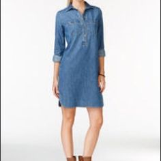 42a2da6c2aea American Living Knee Length Denim Shirt Dress 100 Cotton Blue M for sale  online