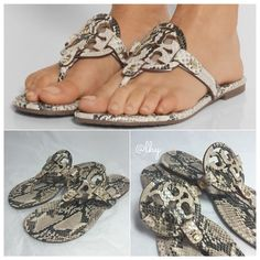 TORY BURCH SNAKE EFFECT MILLER SANDALS - 9 Authentic like new Tory Burch Snake Effect Miller Sandals. Leather upper and lining, rubber sole. Box not included. Oversized laser cut logo. . Gold hardware. Please be familiar with sizing of Tory Burch footwear. If in between sizes, it is recommended to go up 1/2 size in this style. ❌❌NO TRADES NO PP PLEASE DO NOT ASK❌❌ Tory Burch Shoes Sandals