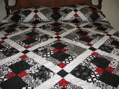 Image result for black white and red quilts