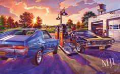 PRIDE OF KENOSHA - from the 'American Blacktop' Series. An original painting by Michael Irvine - Fine automotive art. www.michaelirvine.com $150