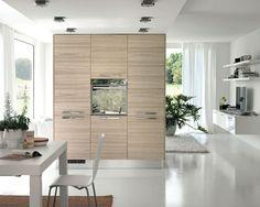 Wohnküche neutrale Farbgestaltung Raumtrenner Wohnzimmer