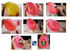 creatief met papiermache om ballon. Een paashaas huisje