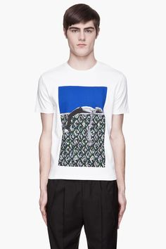 RAF SIMONS White and green inset Boarder Boy t-shirt