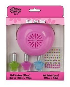 Three Cheers For Girls Nail Art Kit by Three Cheers For Girls. $19.99. 50+ nail stickers. Nail dryer requires 2 AA batteries, not included.. Glitter emery board. Battery operated nail dryer. 3 bottles of nail polish (pretty but not shown). She will totally adore this gift set to dry her own well decorated nails give herself a real salon feel and finish touches with her own home nail dryer for her manicures. Comes with a bonus bling emery board and 57 nail set s...