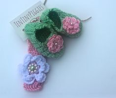 Crochet  sassy slipper set and headband