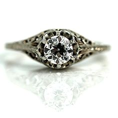 Antique 14 Kt White Gold Old European Cut Diamond Engagement Ring Circa Early 1900's #weddings