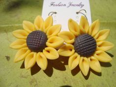 Sunflower Polymer Clay Earrings, $4.99