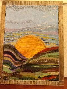 Weaving Textiles, Weaving Art, Weaving Patterns, Loom Weaving, Hand Weaving, Woven Wall Hanging, Tapestry Wall Hanging, Tapestry Loom, Art Fil