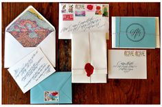 Love so many things about these: map liner, colorful, vintage stamps, great color, even better calligraphy.... and that seal is amazing!