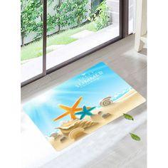 $10.85 Beach Shell Coral Velvet Soft Bath Mat - Sky Blue - W20 Inch * L31.5 Inch