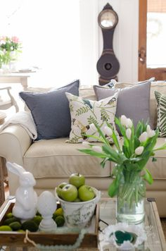 "Spring Family Room Decorating Ideas: Update Your Pillow Covers My friend Laurie from The Glam Farmhouse recently said on Facebook, ""Throw pillows are the stuffed animals of grown women,"" and I think I need it printed on a shirt! I'm a firm believer in having a ""toss pillow wardrobe"" and frequently purchase inexpensive pillow covers to …"