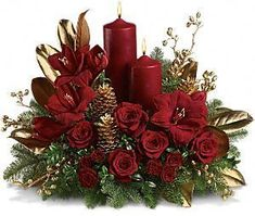 Send Christmas Flowers in Baltimore, MD from Raimondi's Flowers & Fruit Baskets for flower delivery in the Baltimore area. Raimondi's Flowers & Fruit Baskets in Baltimore offers a wide selection of Christmas Flowers. Christmas Flower Arrangements, Christmas Flowers, Christmas Table Decorations, Noel Christmas, Christmas Candles, Christmas Projects, Floral Arrangements, Christmas Wreaths, Floral Decorations