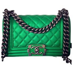 6aff9579d9d9 Chanel Green Leather Handbag Boy