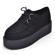 Sexy Black Handmade Leather Ladies Lace UP Flat Double PlatForm Women's Goth Creepers Punk Wedge Casual Creepers Shoes Black on Etsy, $30.00