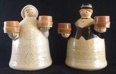 Folk Craft By Shafford Amish Man & Woman Candle Holders ~ Thanksgiving…