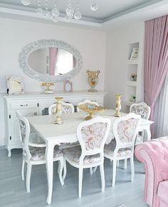 Ayna, Çiçekli, Country, Pembe, Yemek Odası