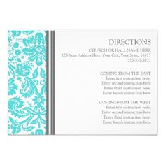 Wedding Direction Cards Aqua Grey Damask