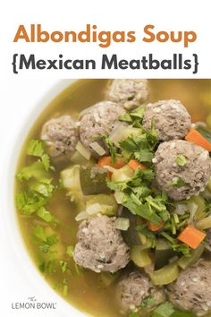 This warm and comforting albondigas soup recipe is packed with hearty vegetables and Mexican-style meatballs. #soup #soupideas Slow Cooker Chicken Curry, Slow Cooker Soup, Chicken Soup Recipes, Healthy Soup Recipes, Lebanese Lentil Soup, Albondigas Soup Recipe, Mexican Meatballs, Chicken And Cabbage, Asian Soup