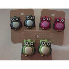 Owl Earrings - Purple and Dark Green