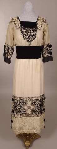 Dress with Black Velvet Yoke, Embroidered with Heavy Black & White Silk Floss. American, 1915-1918.