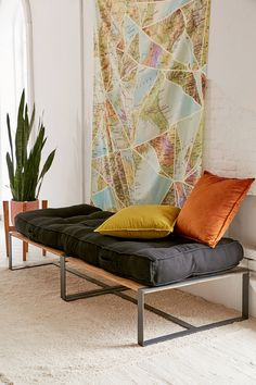 Shop Warren Sectional Daybed at Urban Outfitters today. We carry all the latest styles, colors and brands for you to choose from right here. Urban Outfitters Furniture, Urban Outfitters Bedding, Cama Industrial, Industrial Metal, Living Room Decor, Bedroom Decor, Pull Out Sofa, Boho Bedding, Sofa Shop