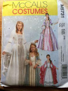 UNCUT McCall's Costume Pattern M5731 Kids Sizes 3-4-5-6-7-8 Princess Costumes #McCalls