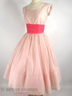 50s Party Dress in Pink. Nipped waist full skirt cupcake -  http://www.betterdressesvintage.com/products/50s-party-dress-in-pink-sm