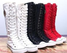 6e80d9d3b9d PUNK EMO Gothic Lace Up Canvas Boot Sneaker Knee-High