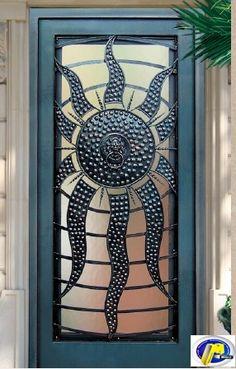 Sun  door wrought iron and aluminum with knocker - Bas-Rhin 67