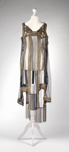 Dress, 1920's, black tulle (new), gold metal embroidery, Dorotheum Vintage, http://www.dorotheum.com/