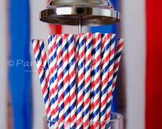 Navy Straws Red White and Blue Paper Straws, Nautical Party Straws, Election Party 4th of July Party Straw. Navy, American Flag Paper Straws