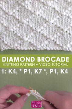 Knitting Squares, Beginner Knitting Patterns, Baby Sweater Knitting Pattern, Easy Knitting Patterns, Knitting For Beginners, Knitting Designs, Stitch Patterns, Lace Knitting Stitches, Sock Knitting