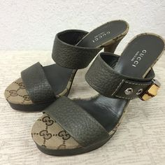 Gucci Canvas Leather green Sandals