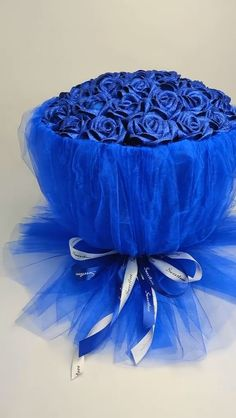 Silk made blue rose bouquet video tutorial - Diy & Crafts - Diy Crafts Hacks, Diy Home Crafts, Diy Arts And Crafts, Creative Crafts, Handmade Crafts, Paper Flowers Craft, Flower Crafts, Diy Flowers, Fabric Flowers