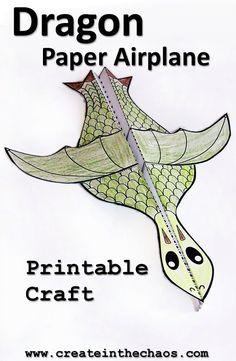 Printable dragon paper airplane craft www.createinthechaos.com