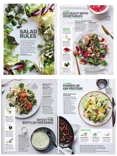 "Self Magazine June 2014 ""Salad Rules"" Photographer: Christina Holmes food menu How to Build Your Best Salad Menue Design, Food Menu Design, Flyer Design, App Design, Food Graphic Design, Corporate Design, Food Magazine Layout, Magazine Layout Design, Speisenkarten Designs"