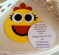 Handmade Custom Chica Birthday Invitations Set by whimzycreations