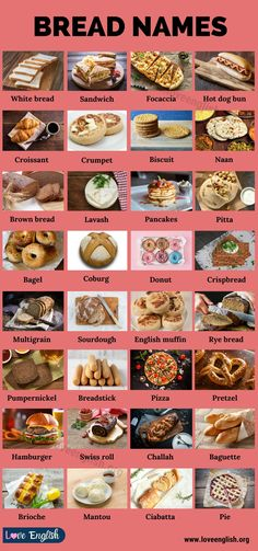 Types of Bread Food Vocabulary, English Vocabulary Words, Learn English Words, English Tips, English Lessons, Sourdough English Muffins, Different Types Of Bread, Food Garnishes, Good Health Tips