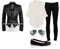 legging, com couro, sapatilha e camisa branca p/ tampar bumbum