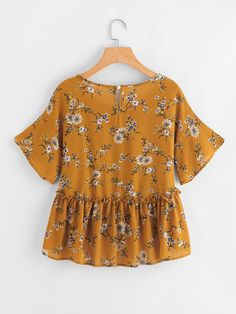 Shop Calico Print Frill Hem Babydoll Blouse at ROMWE, discover more fashion styles online. Simple Outfits For School, Trendy Fall Outfits, Casual Outfits, Cute Outfits, Look Fashion, Fashion Outfits, Fashion Spring, Flutter Sleeve Top, Ruffle Sleeve