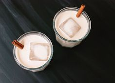 Homemade Horchata.  Cafe horchata in the morning, horchata and rum in the evening, even as a base for horchata sorbet!